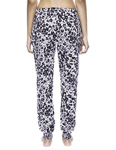 Noble Mount Pantalón Pijama Jogging de 100% Franela de Algodón para Mujer Leopardo Rosa/Gris