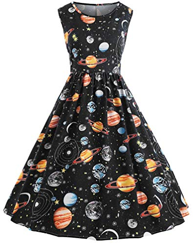 Nicetage Women Vintage Printing Starry Sky Planet Space Dress HS54 Black L