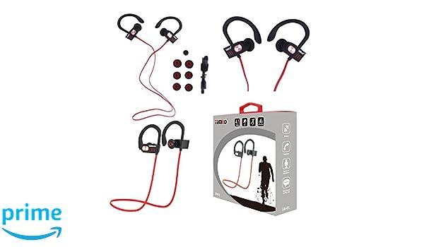 Temco SBH01 - Auriculares Deportivos Inalámbricos, Color Negro y Rojo: Amazon.es: Electrónica