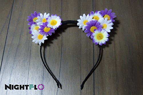 Purple Blossom Daisy Kitty NightFlo (White LED) - Light Up Cat Ear
