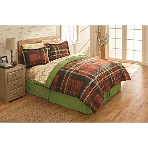 Red & Green Plaid, Bears & Deer, Mountain Cabin Twin Comforter Set (6 Piece Bed in A Bag) + Homemade Wax Melts
