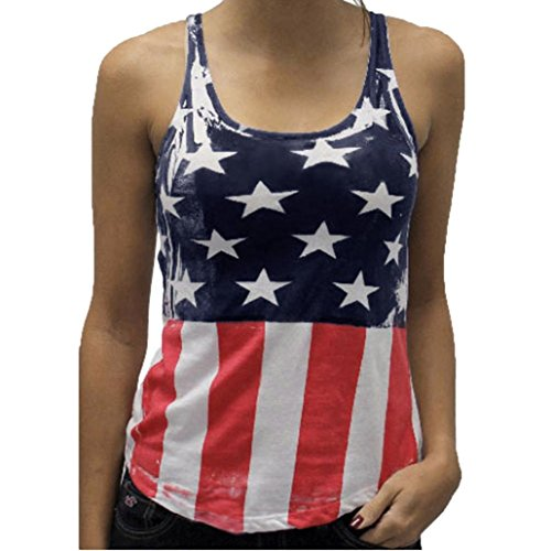 Blouse,SUPPION Womens Flag Print Off Shouder Sleeveless Tank Crop Tops Blouse T-Shirt (XL) - Taco Shirt Button Down