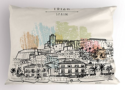 Lunarable Ibiza Pillow Sham, Sketch Style Balearic Islands Spain Hand Drawn Historical Buildings and Boats Travel, Decorative Standard Queen Size Printed Pillowcase, 30 X 20 Inches, Multicolor by Lunarable