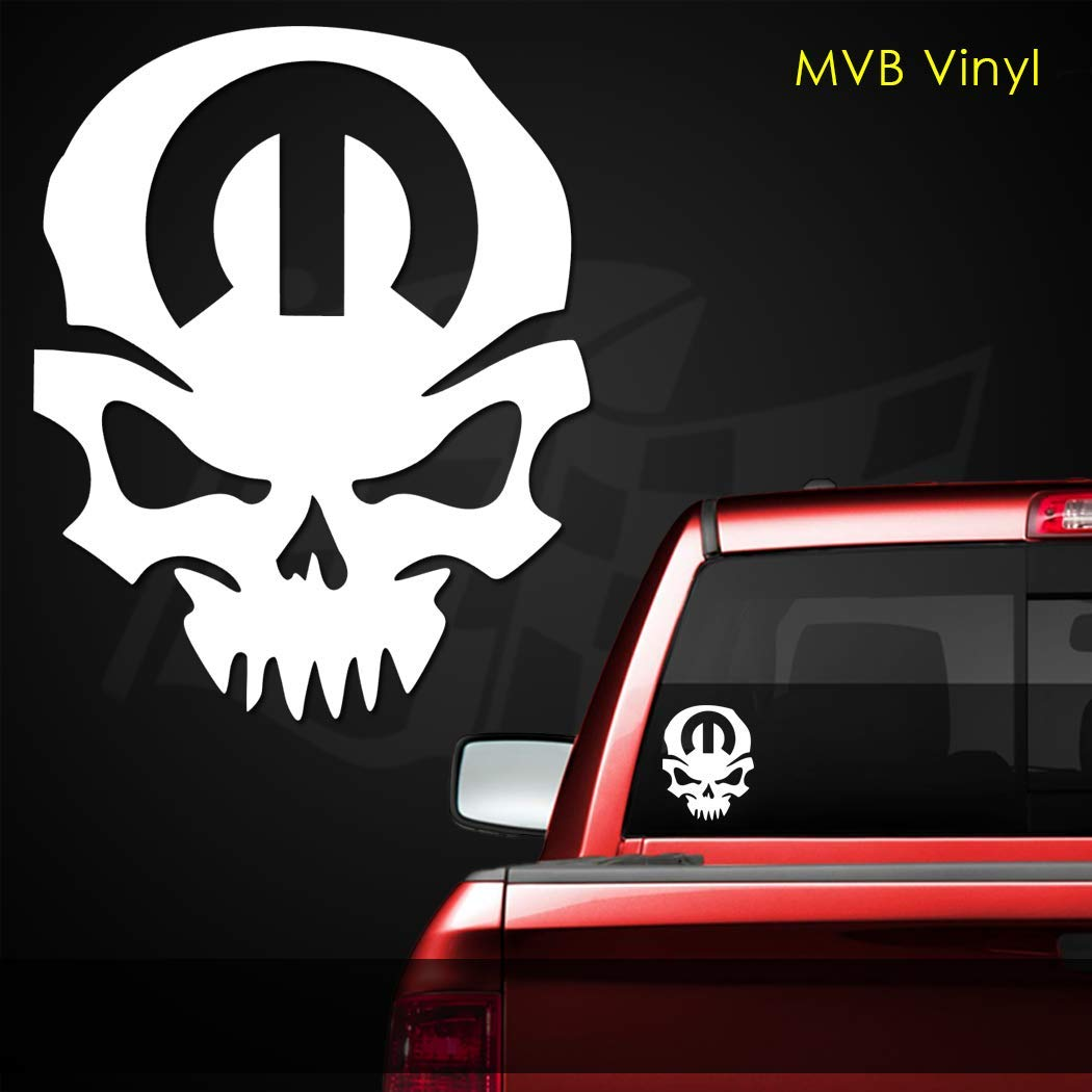 Mopar M Skull Vinyl Decal Window Sticker | Dodge Charger Challenger RAM HEMI 451