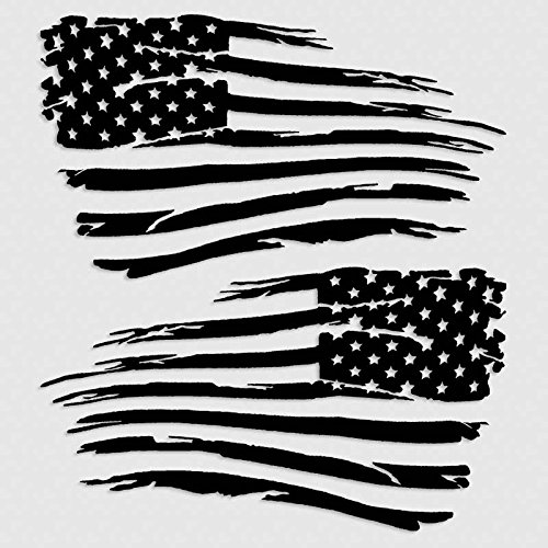 14 inch American Flag Decal Distressed Grunge Style Military Decal Set Matte Black