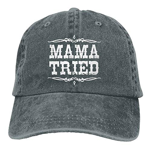 Aegatelate-hat Mama Tried Retro Country Music Adult Hats Unisex Fashion Plain Cool Adjustable Denim Jeans Baseball Cap Cowboy