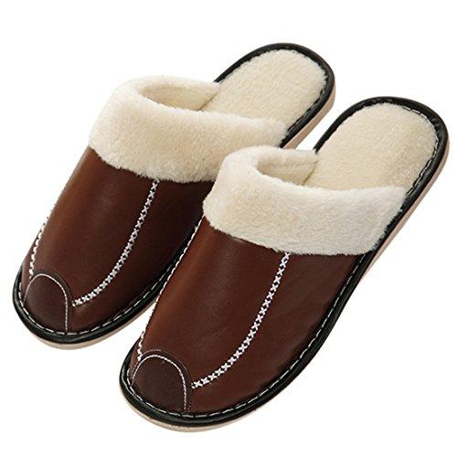 Winzik Donna Uomo Inverno Pantofole In Cotone Artificiale Pu Pelle Fodera Fodera Antiscivolo Suole Coppie Pantofole Casa Caldo Scarpe Calde Marrone