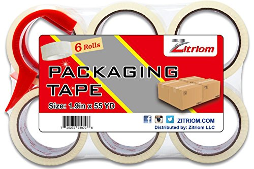 Packing Tape with Dispenser Included for Moving Ultra Adhesive Packages Professional Sealing - This Clear Packaging