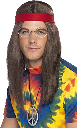 Smiffy's Men's Hippie Man Kit, Wig, Glasses, Peace Sign Necklace & Headband, One Size, 21337 (Male Costume Halloween)