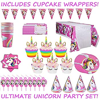 Complete Unicorn Birthday Party Supplies Set For 10 Kids
