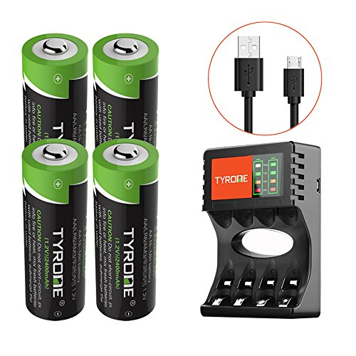 le Battery NiMH 2400mAh 1.2V Battery Pack for Solar Lights Outdoor, Garden Lights, Remotes, Mice, 4-Pack Batteries with Charger [ USB Port Set ][ High-Capacity ] ()