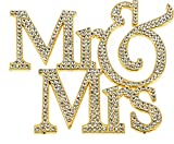 Large Mr&Mrs, Marriage, Wedding Vow, Anniversary, Bridal Shower Cake Topper, Crystal Rhinestones on Gold Metal, Party Decorations, Favors
