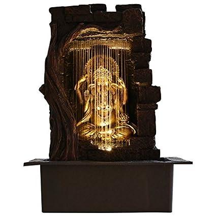 Urban Vibe Ganesha Indoor Water Fountain with Lightning Effect (Standard, Black)
