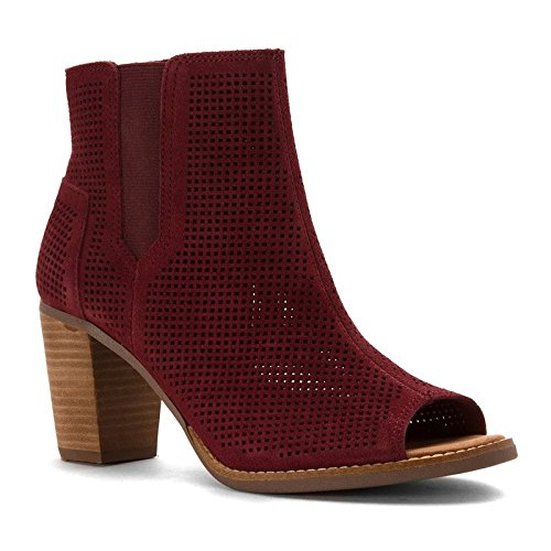 TOMS Majorca Peep Toe Womens Booties, Oxblood Suede Perforated, 10 10009323-601