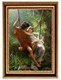 Eliteart -Springtime By Pierre Auguste Cot Giclee Framed Art Canvas print-Frame size :24 1/2''x 34 1/2''
