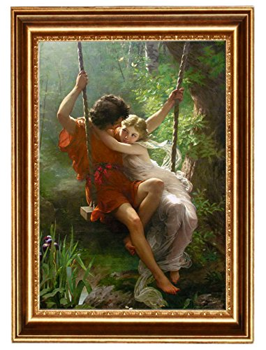 Eliteart -Springtime By Pierre Auguste Cot Giclee Framed Art Canvas print-Frame size :24 1/2''x 34 1/2'' by Elite Art