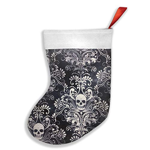 KMAND Christmas Stockings Gothic Skull Damask Scary Halloween Fabulous Christmas Decor Socks ()