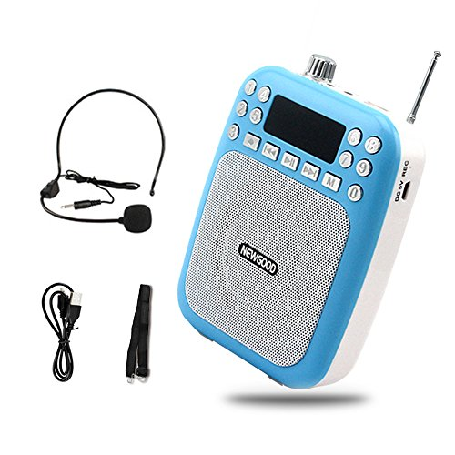 NEWGOOD Portable Mini Voice Amplifier with Headset Microphone professional Loudspeaker Megaphone Support FM Radio MP3 Player Support TF/SD Card (Blue)