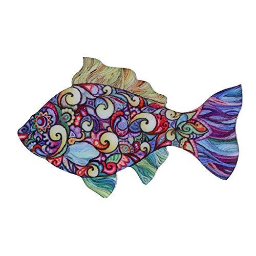 - Connie Cloris Acrylic Printing Animal Skull Brooches Pin (G-Blue-Fish-4)