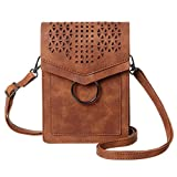MINICAT Women Portable Small Crossbody Bags Cell Phone Purse Wallet With Credit Card Holder(Brown-Thicker)