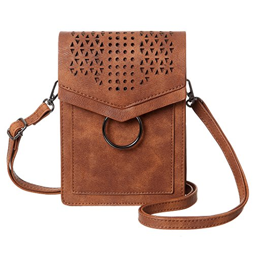 MINICAT Women Portable Small Crossbody Bags Cell Phone Purse Wallet With Credit Card Holder(Brown-Thicker) by MINICAT