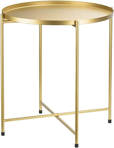 Tray Metal Round Side End Table Gold Folding Side Table for Outdoor or Indoor Use,Anti-Rust and Waterproof Nightstand Sofa Tables,Accent Coffee Table 20.517.3inch