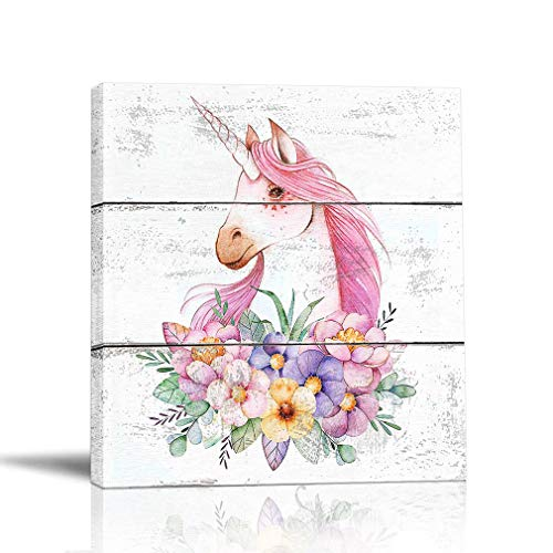 BOLUO Unicorn Wall Art for Girls Room Rustic Canvas Painting Framed Prints Flower Pictures Artwork Nursery Children Kids Bedroom Decor Pink 12x12 Inch (Style-02)