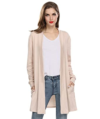 e8efadc9060113 Women Long Sleeve Loose Causal Sweater Cardigan Straight Plus Size Dresses  Pocket Cardigans for Women (