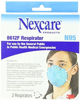 8612f 2-count Respirator Approved Particulate N95 Mask 3m Fda