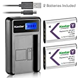 Kastar Battery (X2) & LCD Slim Charger for NP-BY1 EN-EL11 LI-60B DLI-78 DB-L70 DB-80 and Sony Action Cam Mini HDR-AZ1 Nikon Coolpix S550 S560 Olympus FE-370 Pentax Optio L50 M50 M60 S1 V20 W60 W80