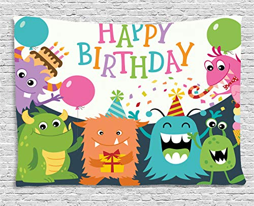 Ambesonne Birthday Party Tapestry, Little Baby Monsters with The Party Cones Confetti Rain and Balloons Image, Wall Hanging for Bedroom Living Room Dorm, 60 W X 40 L Inches, Multicolor