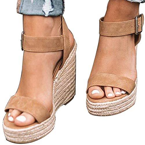 XMWEALTHY Women's Wedge Sandals Casual Sandals Shoes Summer Ankle Buckle Open Toe Platform Wedges Heels Khaki CN 38