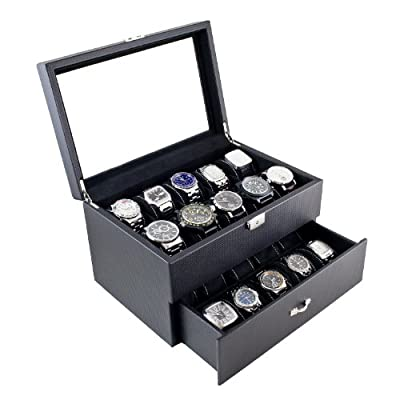 Carbon Fiber Pattern Glass Top Watch Case Display Storage Box Chest Holds 20 Watches With High Clearance for Larger Watches