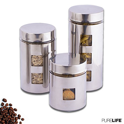 Canisters Sets for the Kitchen by PureLife - Glass Food Storage Containers W/Airtight Lids - Covered in Protective Stainless Steel - Perfect for Keeping your Food Fresh & Organized - 3 Pcs Collection