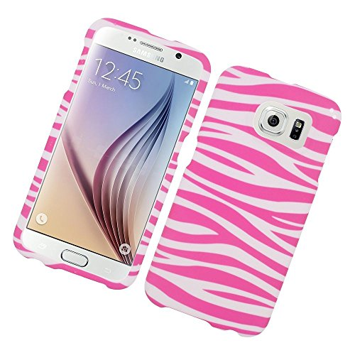 Galaxy S6 Case, Insten Zebra Rubberized Hard Snap-in Case Cover for Samsung Galaxy S6 SM-G920, Pink/White