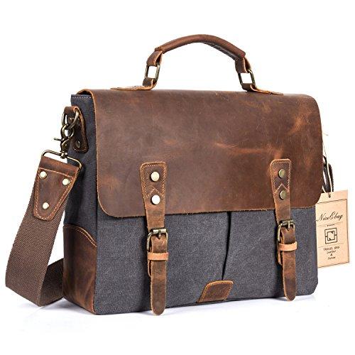 NiceEbag Leather Messenger Bag Vintage Canvas Laptop Shoulder Bag Men Satchel Briefcase Bag Fits Up 13.3 Inch Laptop (Dark Grey)