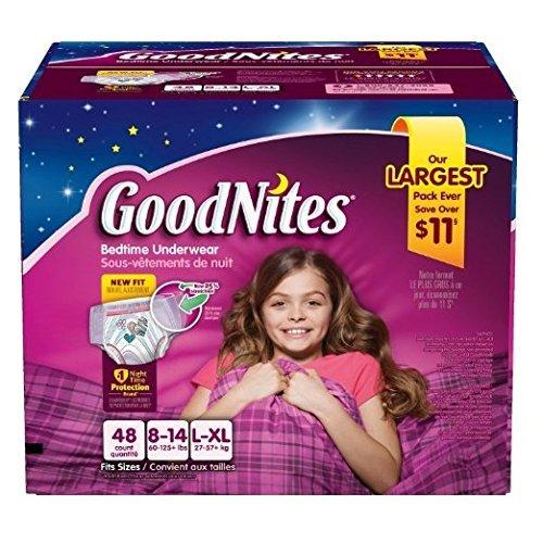 Goodnites Bedtime Underwear Girls, Size L-XL, 44 -