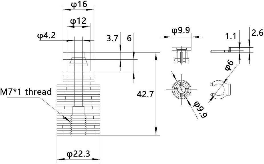 Compatible with V6 Prusa i3 MK3 J-Head Extruder Hotend Bowden Pack of 3Pcs WINSINN 3D Printer Heatsink Long Heat Sink Aluminum M7