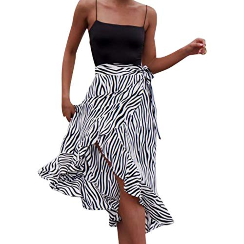 HIRIRI Fashion Women Sundress, Zebra Print High Waist Lace-up Side Split Ruffled Hem Bohemian Skirt -