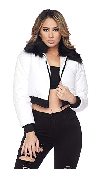 fcb2075a5b642 Image Unavailable. Image not available for. Color: SOHO GLAM Cropped Faux  Fur Puffer Bomber Jacket - Black/White