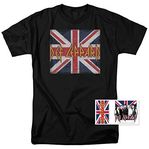 (Def Leppard Logo Union Jack 80s Rock T Shirt (XXXX-Large))