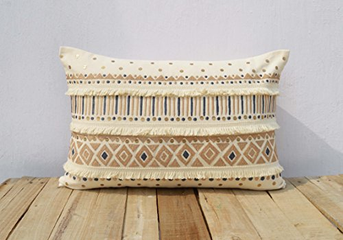 Fringe Throw Pillow (Cream Colour Pillow Cover Fringes Lace Embroidered Moroccan Pillow Standard Size 14x21 Inches)
