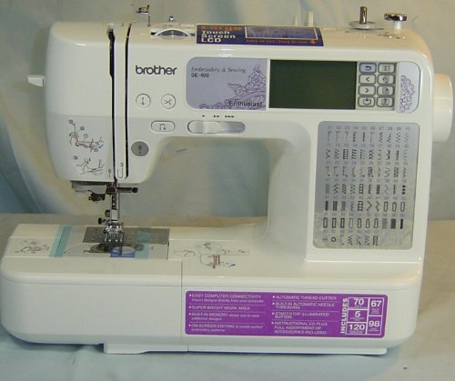 Brother SE400 Combination Computerized Sewing and 4x4 Embroidery Machine With 67 Built-in Stitches, 70 Built-in Designs, 5 Lettering Fonts (Design Software Quilt)