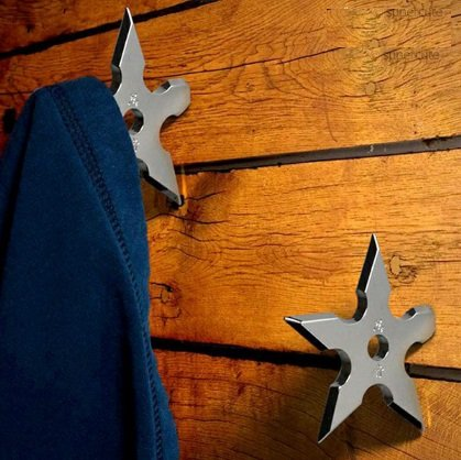 Star Hook Coat (Ninja Darts Coat Hooks (Pack of 2) Clothes Hats Hanger Holder Novelty Present for Teens)
