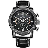 Megir Mens Quartz Watch, Chronograph Display and Leather Strap - 3008G
