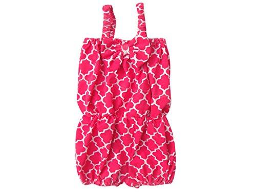 [Unique Baby Girls Quatrefoil Romper 1-2 Years Hot Pink] (Vintage Paisley Print Costumes)