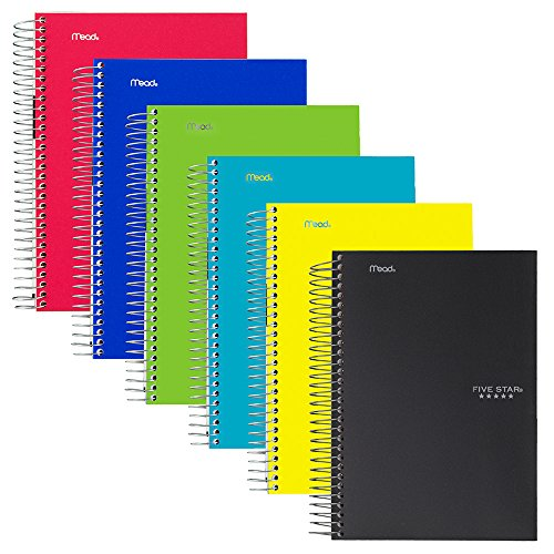 Five Star Spiral Notebooks, 1 Subject, College Ruled Paper, 100 Sheets, 7'' x 5'', Personal Size, Assorted Colors, 6 Pack (38028) by Five Star