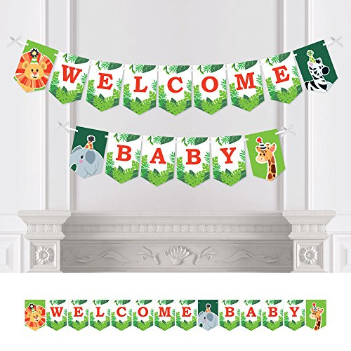 Big Dot of Happiness Jungle Party Animals - Safari Zoo Animal Baby Shower Bunting Banner - Party Decorations - Welcome Baby]()