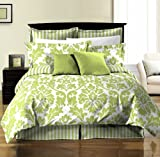 Chezmoi Collection 8-Piece Soft Microfiber Reversible White Green Leaf/Stripe Bed in a Bag Comforter with Sheet Set, Full