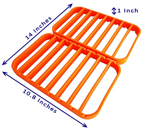 Classic Non Stick Roaster - Roasting Racks for Pans - Oven Racks | Large Cooking Racks for Oven Use - Roast Racks Nonstick - Orange (2 Pack) by STAN BOUTIQUE